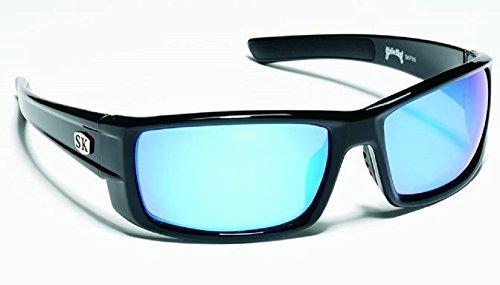 (Strike King Plus Sunglasses (Black/Blue Mirror, Wide Ear Pieces, Adult))