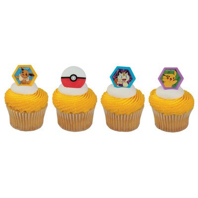Pokemon Cupcake Topper Rings - Set of -