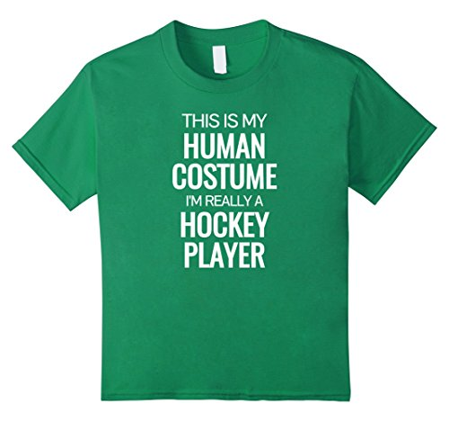 Kids Human costume I'm really a hockey player Halloween Tshirt 10 Kelly Green - Hockey Player Costume For Kids