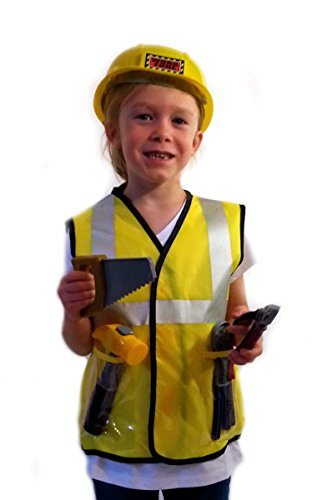 [Construction Worker - Dress-Up Role Play Costume Set for Boys and Girls with Toy Accessories] (Girl Construction Worker Costumes)