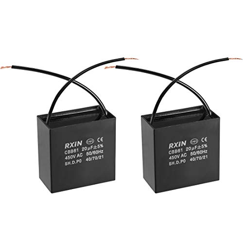 uxcell CBB61 Run Capacitor 450V AC 20uF 2 Wires Metallized Polypropylene Film Capacitors for Ceiling Fan ()