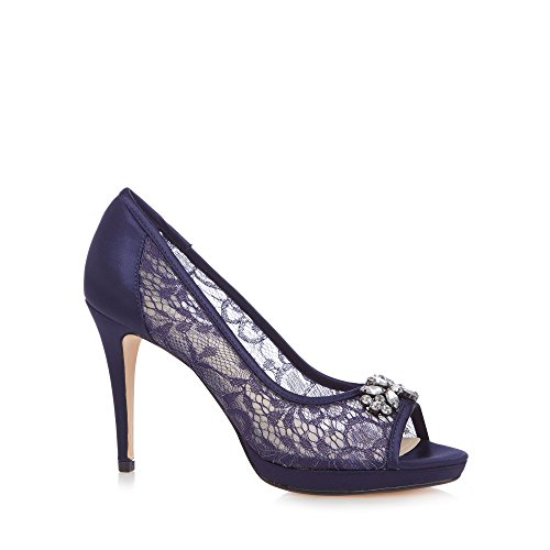 Stiletto Toe Heel Debut High Womens Lace Shoes Navy Peep 'Doreen' PqOF6XwU8F