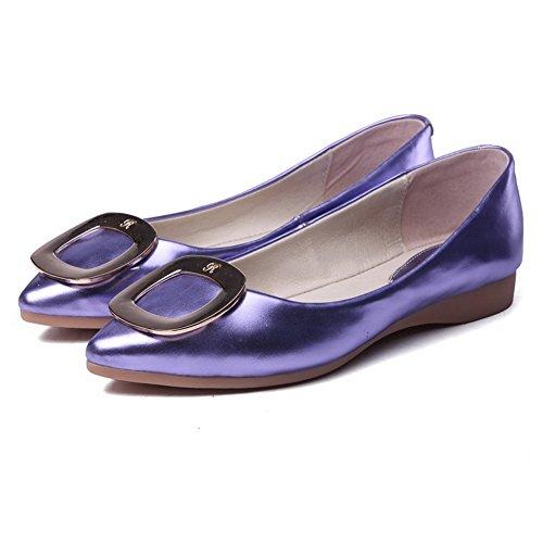 AgooLar Damen Blend-Materialien Rein Ziehen auf Spitz Zehe Ohne Absatz Flache Schuhe Lila