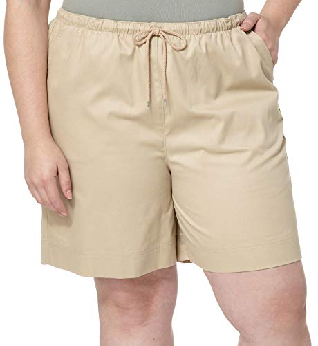 (Coral Bay Plus The Everyday Pull On Drawstring Shorts 2X Tan Beige)