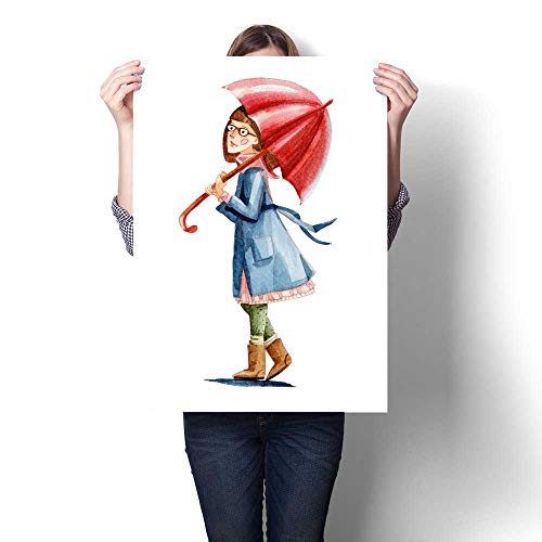 Canvas Wall Art for Bedroom Home Decorations Watercolor Illustration Isolated on White Background The Girl with Glasses in Coat Takes red Umbrella go for a Walk for Home Decoration No Frame 20