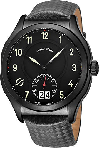 Philip Stein Prestige Big Date Mens Black Stainless Steel Watch - Swiss Made with Luminous Hands and Numbers Grey Leather Band - Natural Frequency Technology Provides More Energy and Better Sleep