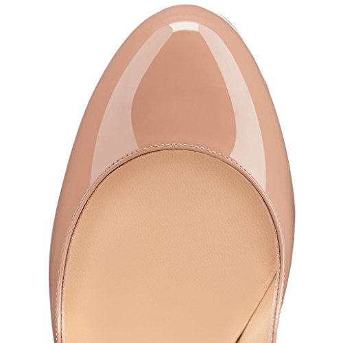 Tacco Classiche Heels Beige col Scarpe Toe Scarpe Round da 12cm Tacco col Donna elashe Scarpe Sz64YOq