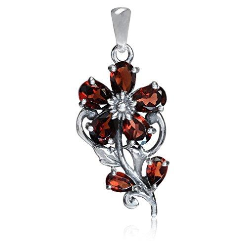 3.21ct. Natural Garnet 925 Sterling Silver Flower & Leaf Pendant