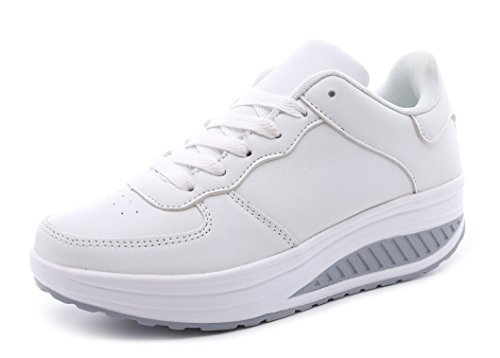 Amitafo Sneakers Wedges Damen Fitness Sportschuhe mit Keilabsatz Leicht Laufschuhe rutschfest Walkingschuhe & Turnschuhe