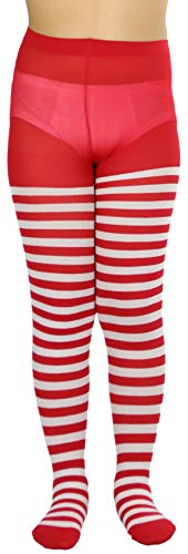 ToBeInStyle Girls' Horizontal Striped Full Length Tights - Red/White - Large -
