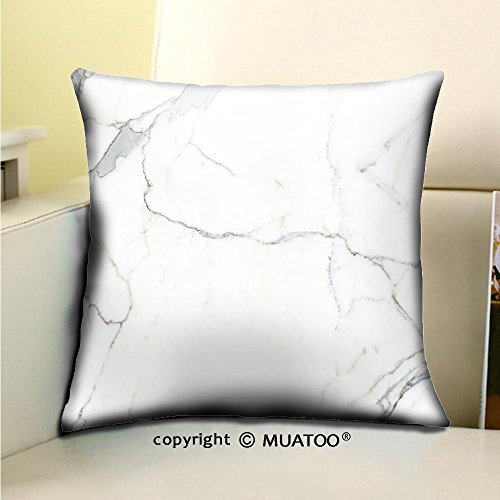 - PleayeL Soft Canvas Throw Pillow Covers Cases for Couch Sofa -Carrara Marble Marble Texture White Stone Background Bianco venatino Marble Print 20x 20(50 x 50 cm)