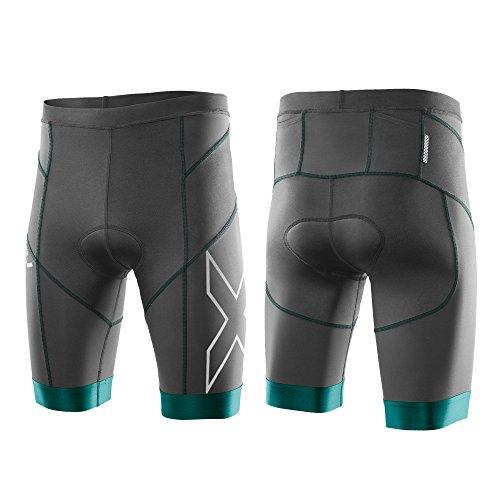 2XU Men's Elite Compression Tri Shorts, XX-Large, Charcoal/Lagoon
