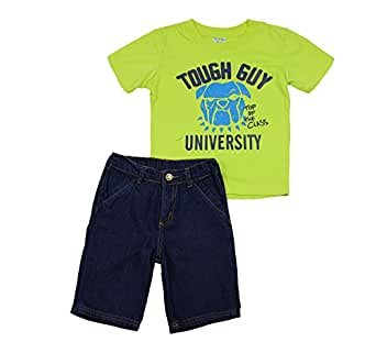 Turtle Bay Kids Toddler Boys 2 Piece Tough Guy University Printed Shirt and Denim Shorts Set, 2T, Lime (43041)