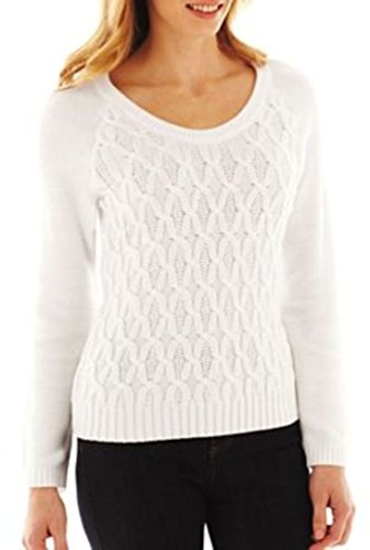 Liz Claiborne Womens Cable Knit Sweater Size Petite Large PL White