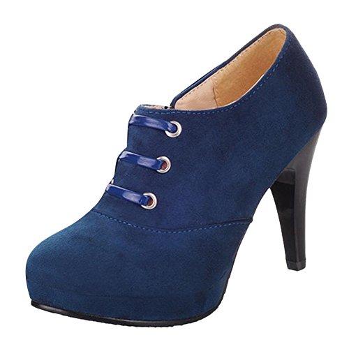 Mee Shoes Damen elegant modern bequem Reißverschluss Trichterabsatz runder toe Nubukleder Geschlossen Plateau Pumps Blau
