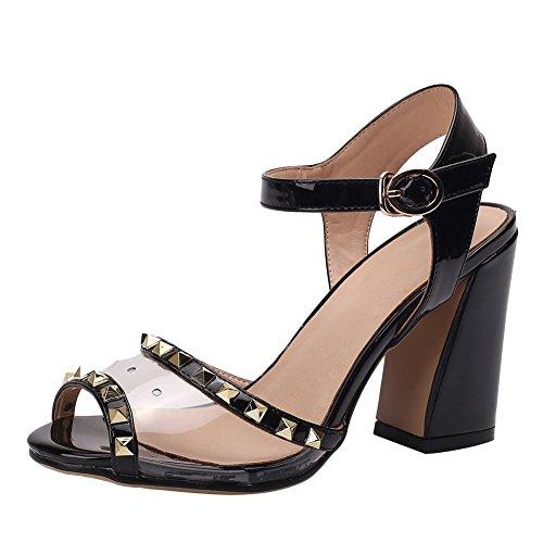 Mee Shoes Women's Charm Mesh Rivet Buckle High Heel Sandals Black