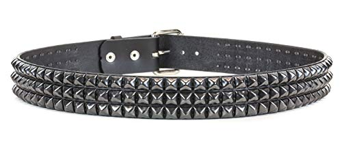 Three Row Black Pyramid Stud Belt Made in USA Genuine Leather Punk Goth Thrash Metal (M-34) ()