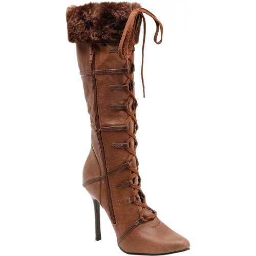 [Ellie Shoes Women's 433 Viking Boot, Brown, 9 M US] (Viking Costume Boots)