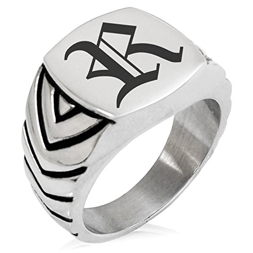 (Two-Tone Stainless Steel Letter R Alphabet Initial Old English Monogram Engraved Chevron Pattern Biker Style Polished Ring, Size 9)