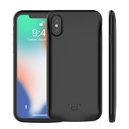 Euhan iPhone X/10 Battery Case, 4000mAh Rechargeable Power Charging Case for iPhone X /10 (5.8 inch) Extended Battery Pack Protective Ultra Thin Charger Case,Compatible with Wire Headphones (Black)