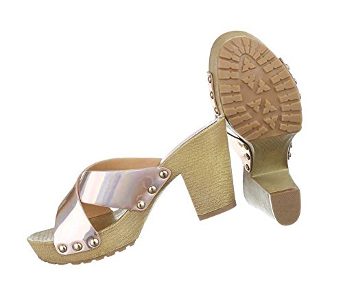 Damen Sandalen Schuhe Pantoletten Schwarz Champagner