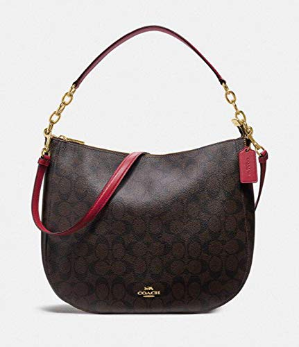 COACH ELLE HOBO IN SIGNATURE CANVAS BAG HANDBAG (Brown/True Red)
