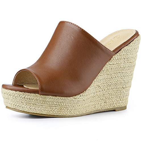 (Allegra K Women's Open Toe Espadrille Platform Brown Mules - 6 M US)