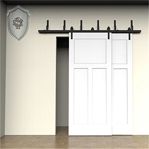 KIRIN Hardwares Interior Wood Door Decor Soft Close Double Doors Bypass  Barn Door Hardware 7 Foot