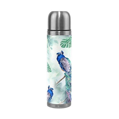 - Palm Tree Peacock Double Wall Stainless Steel Water Bottle Vacuum Insulated Thermos Flask 17 Oz Genuine Leather Cover