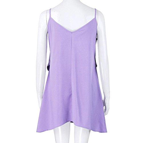 Encolure Manches Femme Robe en Dress Solide Volants Violet pour Robe superpose Robe Mini V EUZeo Robe Braderie dcontracte Ample d't sans wqZgZFBWv