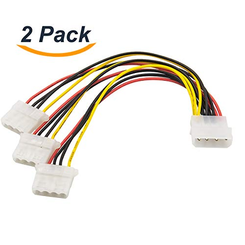 Computer Molex 4 Pin Power Supply to 3 Port Molex IDE Y Splitter Cable 2 Pack