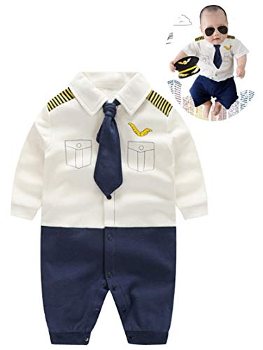 Baby Pilot Boys Halloween Uniform Cosplay Romper Costume Outfit (9 to 12 Months, Long Sleeves)]()