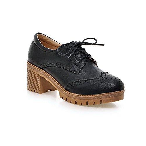 Med Kvinners Voguezone009 Runde Kattunge Buer Pu Sorte sko Hæler Lukket Tå Solide Pumper Lisse up 7dgqrxnd