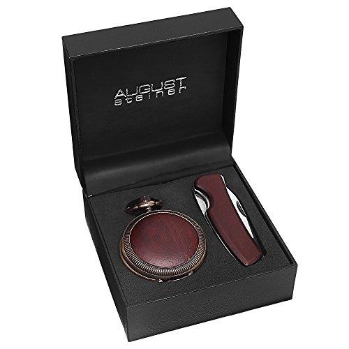 August Steiner Men's AS8145BR Wood Inlayed Quartz Pocket Watch & Folding Knife Set by August Steiner