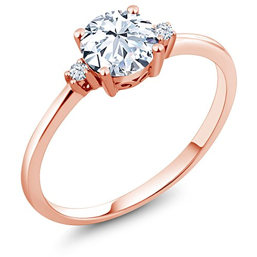 10K Rose Gold Engagement Solitaire Ring set with 1.23 Ct Round Hearts And Arrows White Created Sapphires (Size 6) ()
