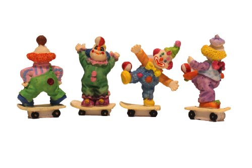 4 Piece Clown on Skating Board Figurine Porcelain Miniature Party Favors