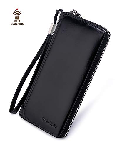 Women Leather Wallet Rfid Blocking Large Capacity Zipper Around Travel Wristlet Bags (Black)