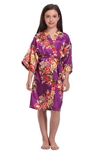 Little Girls Floral Robes for Spa Wedding Party Nightgown Nightwear Dark Purple