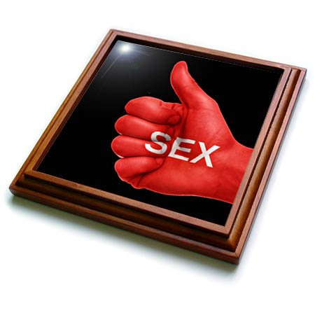 3dRose RinaPiro - Sex Quotes - Sex. Red and black. - 8x8 Trivet with 6x6 ceramic tile (trv_266084_1) by 3dRose