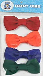 Teddy Tank Toy Accessories 4-Pack Velcro Bows, Solid Colors Red/Green/Blue and Orange