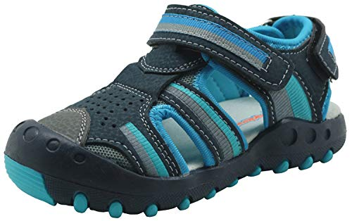 Apakowa Kid's Boy's Summer Outdoor Athletic Double Strap Closed-Toe Beach Sandals Sport (Toddler/Little Kid)