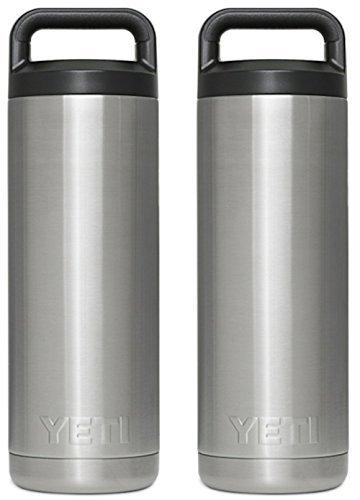 SET OF 2 YETI Rambler Bottles - 18 oz Stainless Steel With I