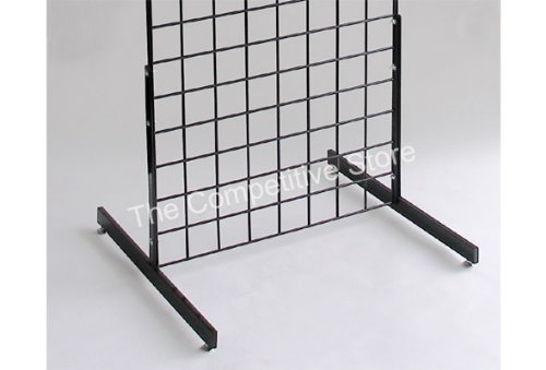 (T-Shape Gridwall Panel Legs Display with Levelers - Box of 3 Pairs (6 Individual Legs) - Black - Work with All Standard Grid or Slatgrid)