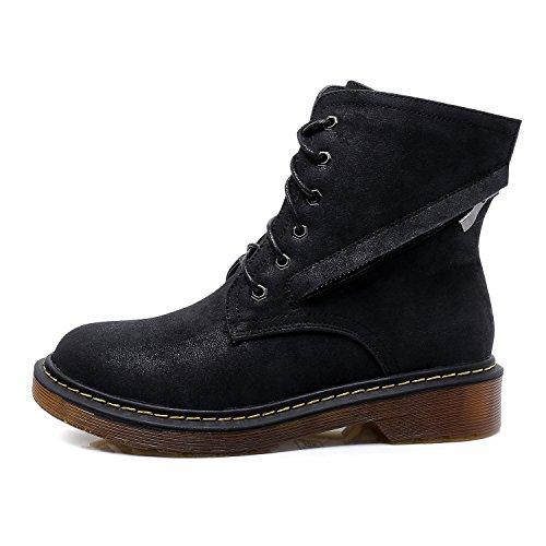 Smilun Bottine Derby Et À Lacets Zip Classique Chaussures Noir Dame qqawxvEU