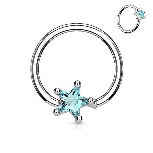 Amelia Fashion 16GA Star CZ Captive Bead Ring 316L Surgical Steel Steel Prong Set Captive Bead