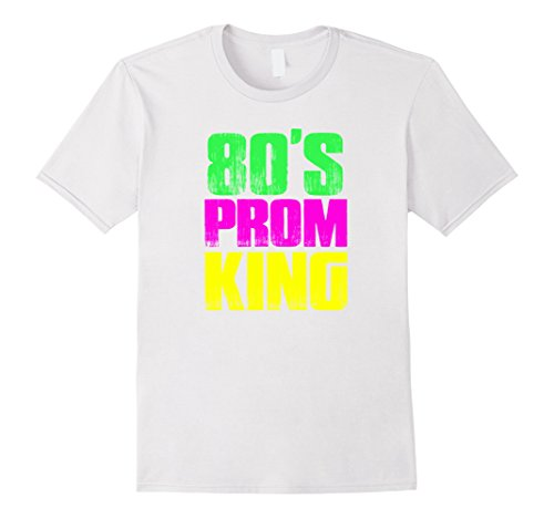 [Men's Men's 80's Prom King Eighties Neon Party Shirt Costume Large White] (Social Media Sites Costumes)