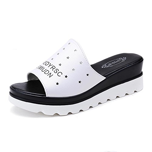 Sandals Amazing Female Flat Bottom Summer Casual Shoes PU Material With High 5.5cm Black And White Optional (Color : Black, Size : EU39/UK6.5/CN40) White