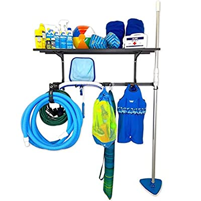 StoreYourBoard Pool Equipment Rack + Storage Shelf, Wall Mounted Organizer, Holds Brushes, Vacuum Hoses, Skimmers, Leaf rakes, Extension Pole, nets, Bags, inflatables, Toys, Chemicals, and More : Garden & Outdoor