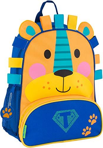 (Monogrammed Me Sidekick Backpack, Blue Lion, with Glitter SuperHero Monogram T)