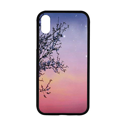 Night Rubber Phone Case,Dreamlike Ethereal Sky with Moon Stars and Blooming Spring Tree Branches Decorative Compatible with iPhone XR